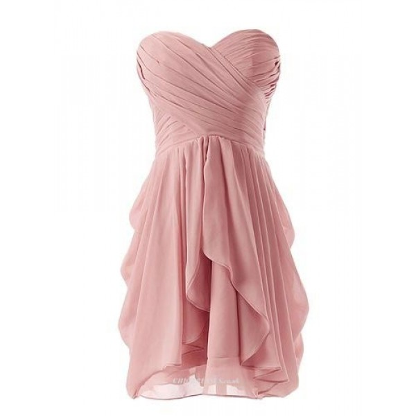 Simple Knee Length Zipper Back Column Strapless Evening Dress With Ruffles New Arrival