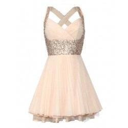 Mini/Short Criss Cross Straps With Beading Party/Bridesmaid Dress