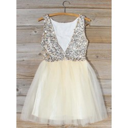 Short Puffy MIni V-neck Back Party Dress With Beading
