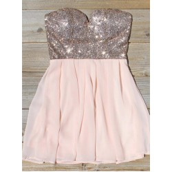 A-Ling Short Pink Mini Party Dress With Sequins