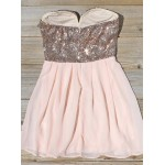 A-Ling Short Pink Mini Party Dress With Sequins New Arrival