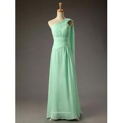 Floor Length Green Chiffon Long One Shoulder Evening Dress