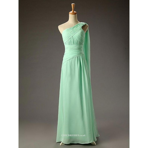 Floor Length Green Chiffon Long One Shoulder Evening Dress New Arrival