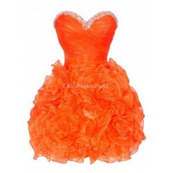 A Ling Short Puffy Mini With Beading Party Dress