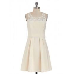 Elegant Knee Length Dress Keyhole Back Evening Dress With Lace