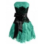 ShortMini Sweetheart A-Ling Lace Appliques EveningBridesmaid Dress With Black Bow New Arrival