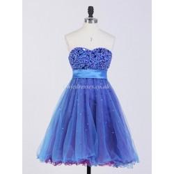 A-ling Short Mini Party Dress Bling Bling Beaded Zipper Back Bridesmaid Dress