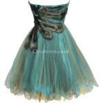 Allure Short Embroidery Zipper Back Column Strapless Party Cocktail Dress New Arrival