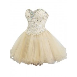 Short Mini Puffy A Ling Sweetheart Party Bridesmaid Dress With Beading