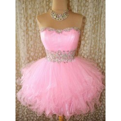 Short Mini Puffy Pink Lace Up Party Bridesmaid Dress With Beading
