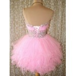Short/Mini Puffy Pink Lace-up Party/Bridesmaid Dress With Beading New Arrival