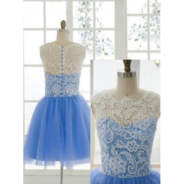 Elegant Short Lace Dress Button Back With Lace Bridesmaid Dress New Arrival