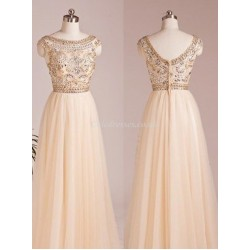 Floor Length Chiffon V-Back Bridesmaid Dress With Beading