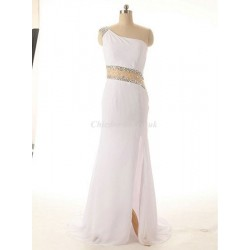 Elegant Long White Chiffon One Shoulder With Beading Party Cocktail Dress