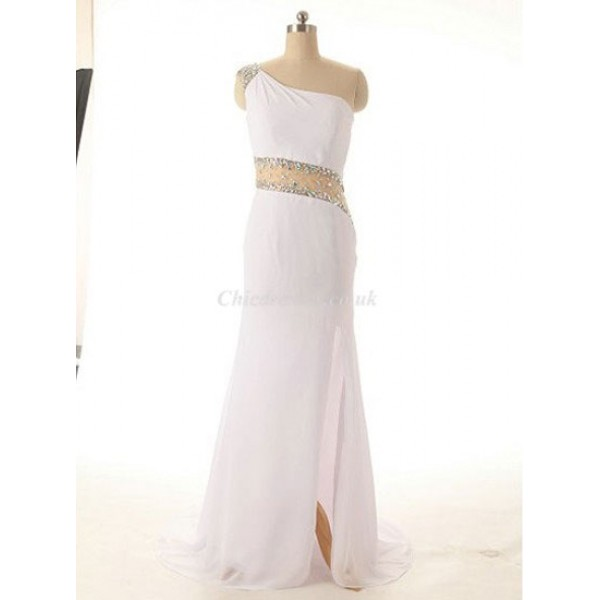 Elegant Long White Chiffon One Shoulder With Beading Party Cocktail Dress New Arrival