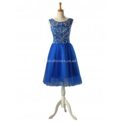 Short Blue With Beading Boat-neck V-Back Straps PartyCocktail Dress