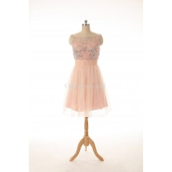 New Knee Length Pink With Beading Jewel-neck Party Cocktail Dress