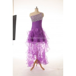 Sexy Long Lace Purple Party Dress Lace Up Back One Shoulder With Beading Bridesmaid Dress
