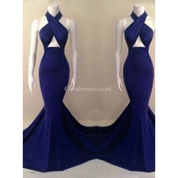 Royal Blue Long Mermaid Chiffon Evening Dress With Criss Cross Straps