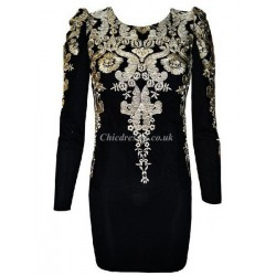 Sexy Black Embroidery Long Sleeves Evening Dress