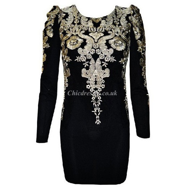Sexy Black Embroidery Long Sleeves Evening Dress New Arrival