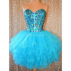 Short Puffy Mini Princess PartyBridesmaid Dress With Sequins