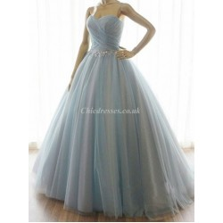 Floor Length Haze Blue Party Gown With Sparkling Waist Beading Sweetheart Bridesmaid Dress