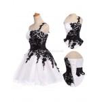 Elegant Knee Length White And Black Lace Up BackOne Shoulder Bridesmaid Dress New Arrival