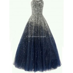 Sweetheart Long Blue Crystals Tulle Strapless Party Cocktail Bridesmaid Dress