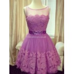 Short Simple Elegant Lace Sheer-neck Party Cocktail Bridesmaid Dress With Sparkling Waist New Arrival