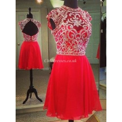 Short Handmade Beading Zipper Back Homecoming/Bridesmaid Dress