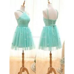 Mint Green Halter Neck Sleeveless Pretty Flower Tulle Short Bridesmaid Dress