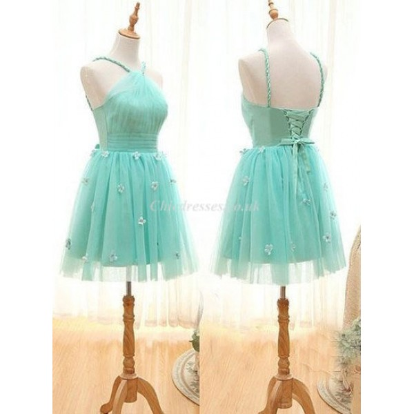 Mint Green Halter Neck Sleeveless Pretty Flower Tulle Short Bridesmaid Dress New Arrival