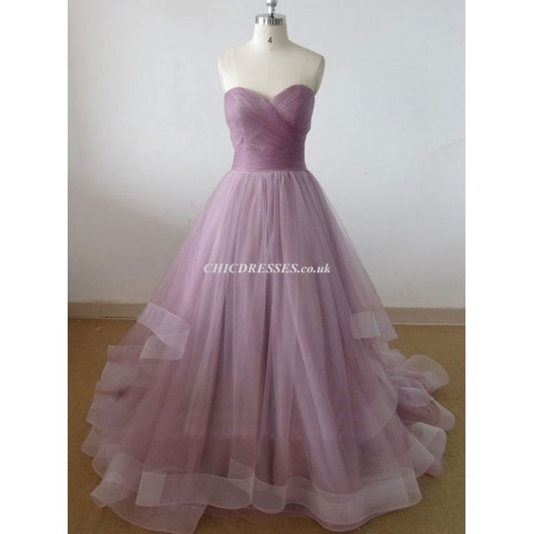 Ball Gown Sweep/Brush Train Sweetheart Tulle Bridesmaid Dress New Arrival