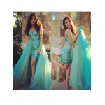 Bridesmaid Dress Removable Skirt Rhinestones Sparkling 2 Pieces Prom Sweetheart Tulle Sheath Party Gown New Arrival