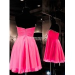 Short/MIni Pink Zipper Back Column Strapless Party Cocktail/Bridesmaid Dress With Beading New Arrival