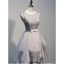 Short Silver Scoop Neck Lace Up Cocktail Bridesmaid Dress With Bow