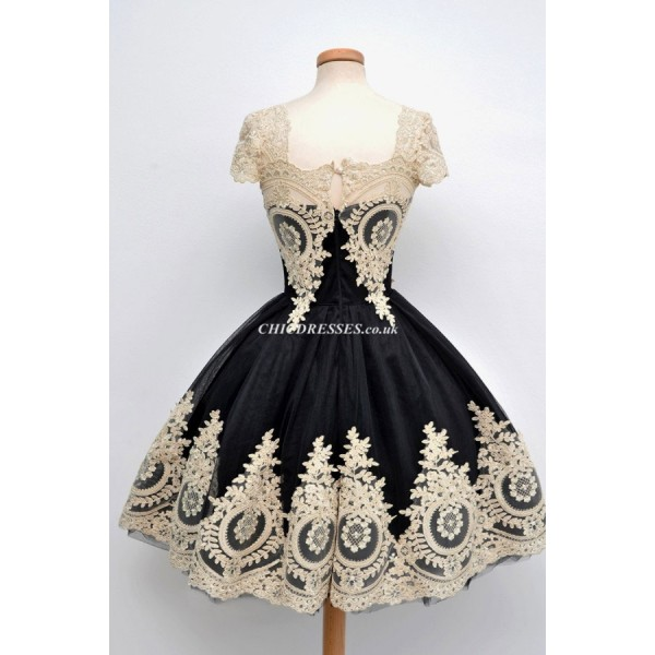 Ball Gown Short Black Appliques Cap Sleeves Party Cocktail/Bridesmaid Dress With Lace New Arrival