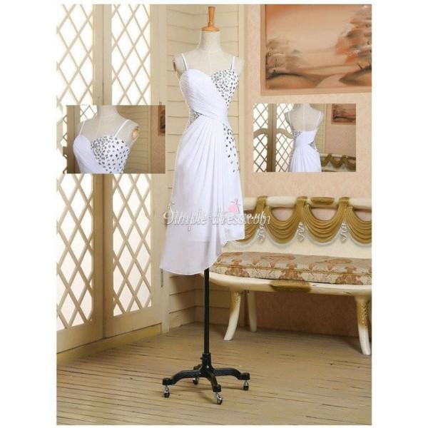 Elegant White Chiffon Spaghetti With Beading Bridesmaid Dress New Arrival