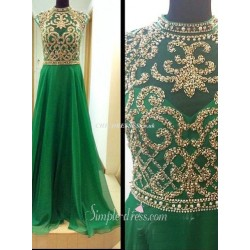 Floor Length Jewel-neck Green Chiffon With Handmade Beading Evening Dress