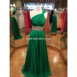 New Long Waist Belt Bead One Shoulder Party Bridesmaid Dress