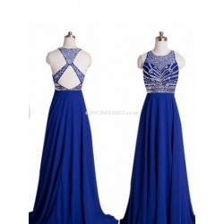 New Floor Length Navy Blue Chiffon Bridesmaid Dress With Beading