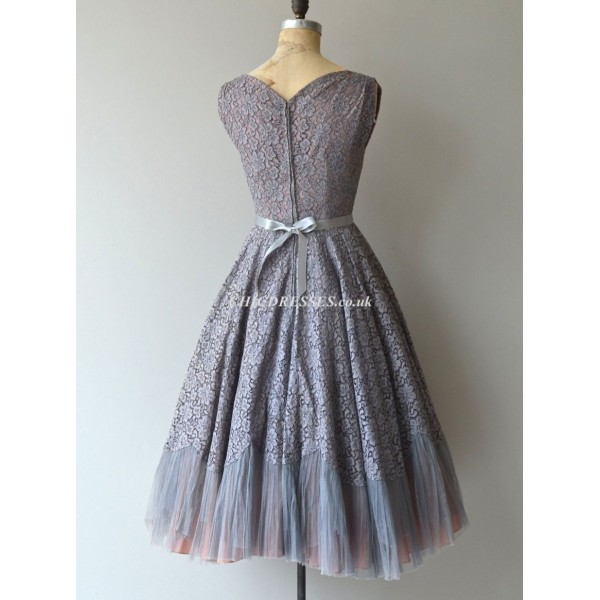 A-line Queen Anne Short Lace Bridesmaid Dress With Ribboris New Arrival