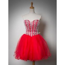 Short/Mini Puffy Mini Crystais Tulle Party/Bridesmaid Dress