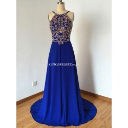 SweepBrush Train Royal Blue Jewel-neck Low Back With Beading EveningBridesmaid Dress