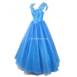Ball Gown Long Blue Zipper Back Lace Collar Bridesmaid Dress With Sequins