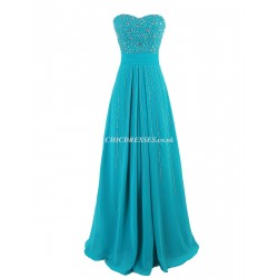 Sheath/Column Long Zipper Back Strapless Bridesmaid Dress With Handmade Beading