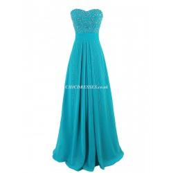 Sheath Column Long Zipper Back Strapless Bridesmaid Dress With Handmade Beading