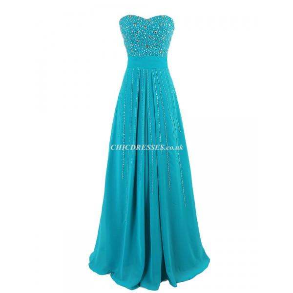 Sheath/Column Long Zipper Back Strapless Bridesmaid Dress With Handmade Beading New Arrival