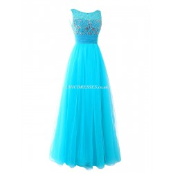 New Long Floor Length Low Back Boat-neck Bridesmaid Dress With Bow/ Beading